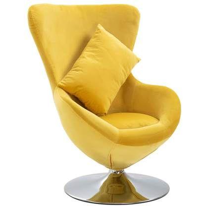 Lounge Stoel Met Kussen.Vidaxl Draaistoel Eivormig Met Kussen Fluweel Geel Draaistoel
