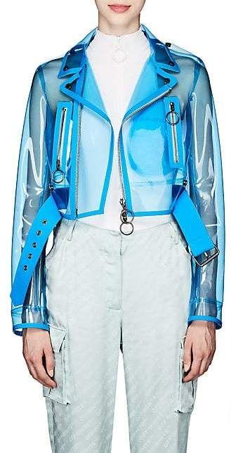 Off White Women S Transparent Vinyl Moto Jacket Blue Jackets Vinyl Clothing Fashion