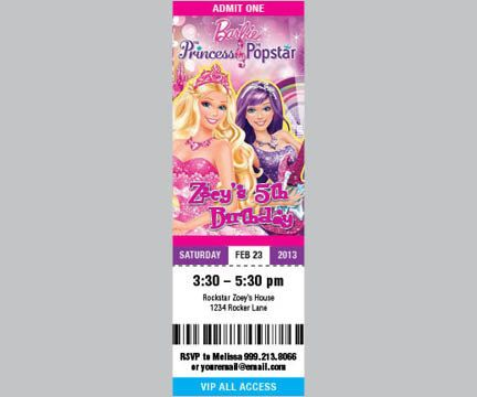 Barbie The Princess and the Popstar - Printable Concert Ticket - concert ticket birthday invitations