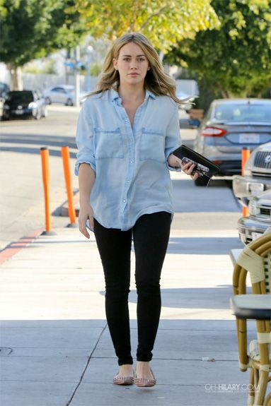 Seen on Celebrity Style Guide: Hilary Duff wore this cute chambray button up shirt and nude spike flats Out in Los Angeles December 12