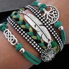 Bracelet multirangs, noir et vert avec cabochon en 12 mm en verre motif leopard