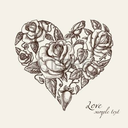 Vintage Herz Mit Rosen Heart Heart Herz Mit Rosen Vintage Korperkunst Tattoos Herz Tattoos Vintage Rosen