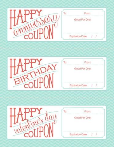 Printable Love Coupons To Give As Gifts