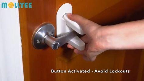 Paquet de 2 paires de portes et poignées à l'épreuve de la sécurité pour enfants avec serrure à levier, adhésif 3M