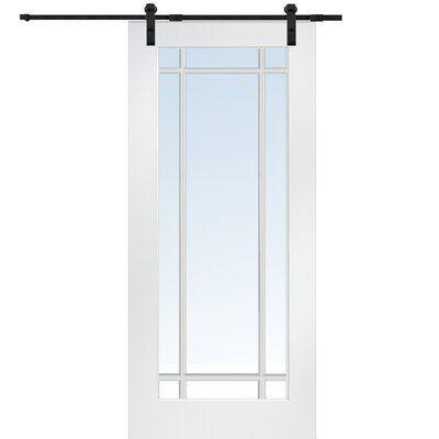 Verona Home Design Glass Wood Primed Mdf Interior Barn Door With Installation Hardware Kit Interior Barn Doors Glass Barn Doors Doors Interior