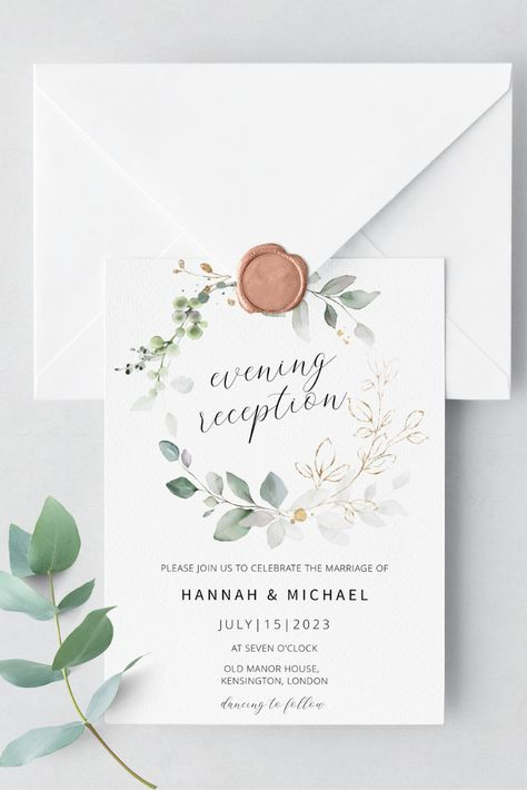 Invite your friends  family to your evening reception party with the gorgeous greenery invitation. Includes an RSVP  details card. Try before you buy! Click the link to try out the FREE demo! #greenerywedding #weddingreception #eveningreception