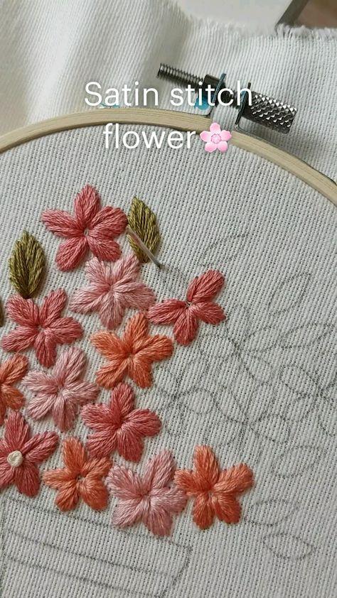 Satin stitch flower🌸 Hand embroidery