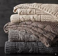 RESTORATION HARDWARE ITALIAN WOOL ALPACA CABLE THROW BLANKET $229 RED NEW