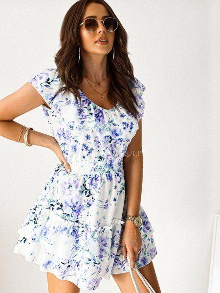 Biala Sukienka Z Falbana W Fioletowe Kwiaty Dresses Dresses With Sleeves Fashion