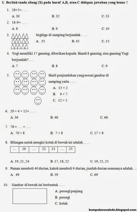 Pin Di Matematika Kelas 1