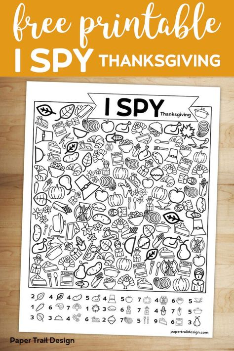 Free Printable I Spy Thanksgiving Activity for a classroom game, family get together or church activity to keep kids busy. Free Printable I Spy Thanksgiving Activity for a classroom game, family get together or church activity to keep kids busy. Thanksgiving Crafts For Kids, Thanksgiving Parties, Thanksgiving Activities For Kindergarten, Thanksgiving Turkey, Free Thanksgiving Printables, Thanksgiving Activities For Kids, Thanksgiving Decorations, Thanksgiving Word Search, Free Thanksgiving Coloring Pages