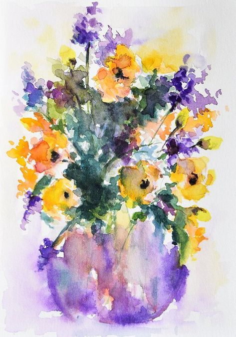 Limonium Flowers Watercolor Original Purple And Yellow Flowers