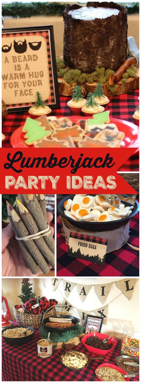 Check out this lumberjack first birthday party! See more party ideas at CatchMyParty.com!