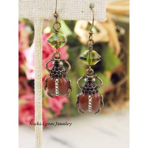 These Egyptian style #earrings are for anyone that loves bug jewelry. Popular in the #Victorian era and once again in this era. The Rhinestones on the beetle add a bit of bli... #clearance:y #jewelry #nin:t3 #nin:y
