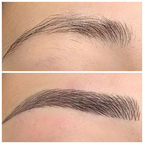 Sourcils Microblading - Maquillage permanent semi - Brow Design By Dina Mircoblading Eyebrows, Eyebrows Goals, Sparse Eyebrows, Blonde Eyebrows, Natural Eyebrows, Bold Brows, Thicker Eyebrows, Eye Brows, Plucking Perfect Eyebrows