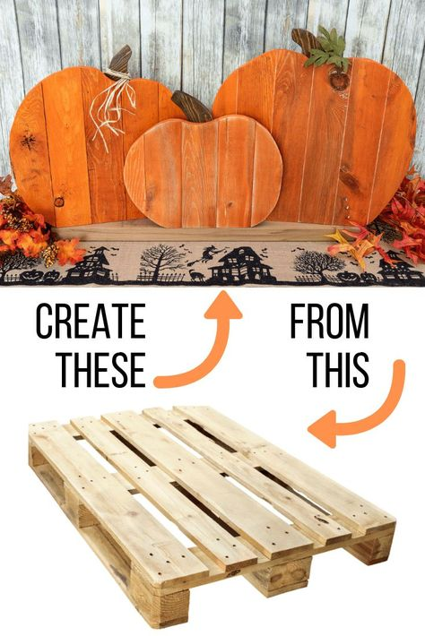 DIY Pallet Pumpkin Trio This pallet pumpkin trio is easy to make, and looks adorable on your front porch or mantle! Start your fall decorating with this easy tutorial! This pallet project won't take long to make, and is almost FREE! Pallet Pumpkin, Diy Pumpkin, Pumpkin Signs, Primitive Pumpkin, Pumpkin Bars, Pumpkin Crafts, Wooden Pallet Projects, Wooden Pallets, Pallet Art
