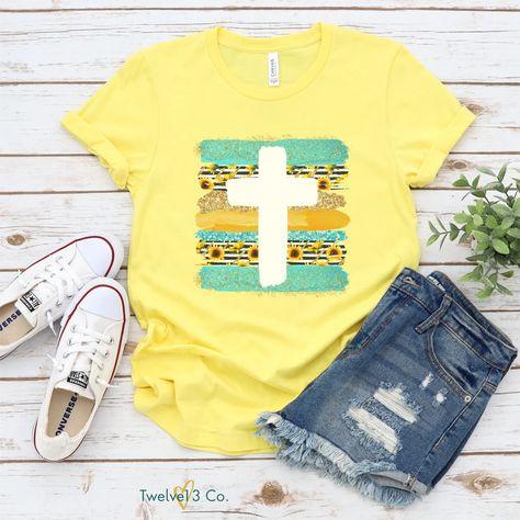 Sunflower Cross Faith Based Christian Shirt by Twelve13Co