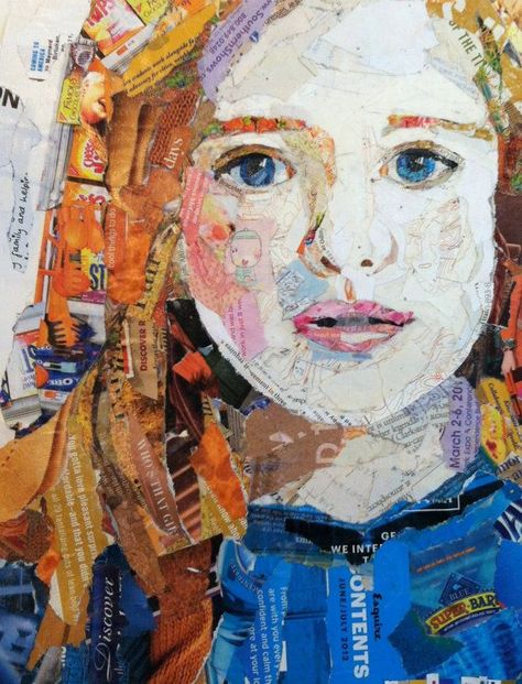 Girl in Blue - Collage