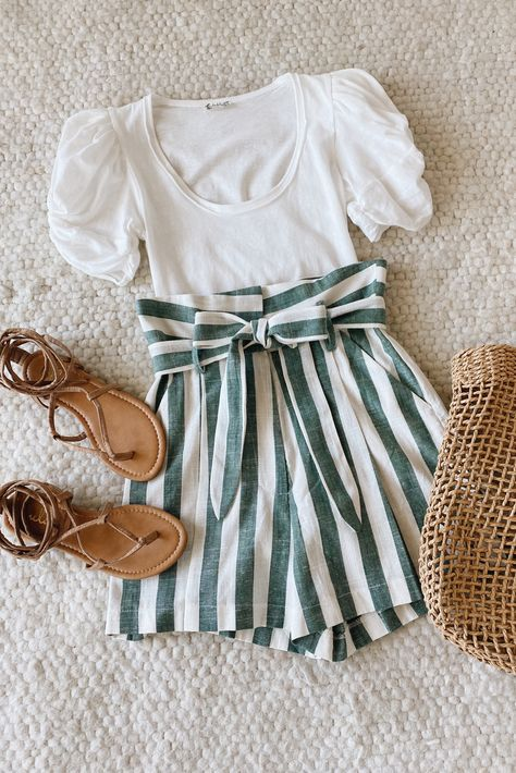 Lulus White and Sage Green Striped Paperbag Waist Shorts are perfect for summertime adventures! Style these casual striped shorts with a simple white tee shirt for a cute summer outfit. #lovelulus