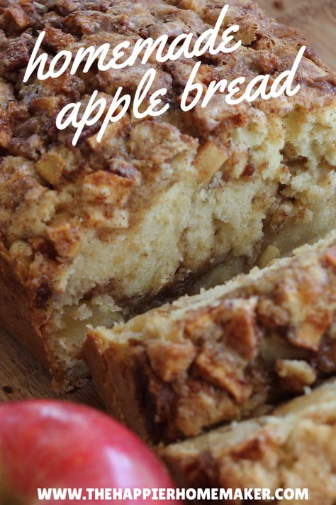 Apple Cinnamon Bread Ingredients      ½ cup packed brown sugar     1½ teaspoon ground cinnamon     ⅔ cup white sugar     ½ cup butter, softened     2 eggs     2 teaspoons vanilla extract     1½ cups all-purpose flour     1½ teaspoons baking powder     ½ cup milk     1 large apple, peeled and finely chopped