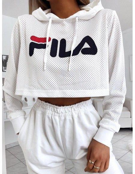 Fila Sweat Capuche Crop Femme Noemi 684450 Blanc