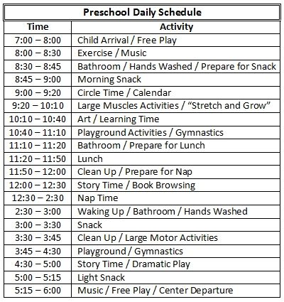 Pictures Of Preschool Daily Routines  Arts Afterschool  Schedule