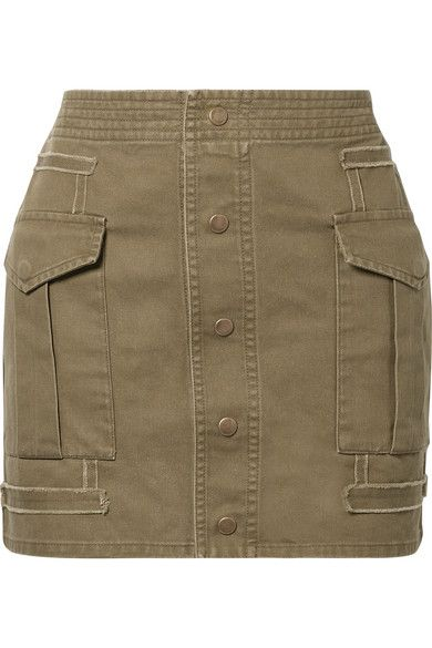 Saint Laurent - Cotton And Ramie-blend Twill Mini Skirt - Army green