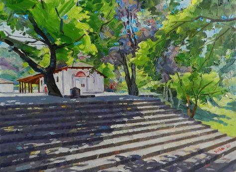 Original Landscape Painting by Artan Kola | Expressionism Art on Canvas | Little church