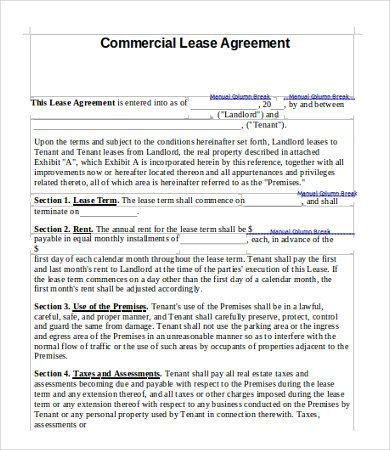 Printable Sample Commercial Lease Agreement Form Template for Real