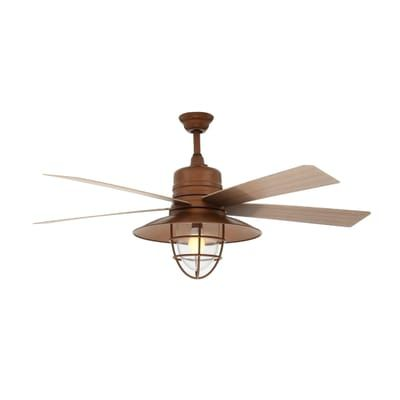 Home Decorators Collection Grayton 54 In Led Indoor Outdoor Rustic Copper Ceiling Fan With Clear Glass Sha Copper Ceiling Fan Ceiling Fan Outdoor Ceiling Fans