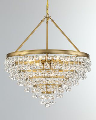 Calypso 8 Light Vibrant Gold Crystal Teardrop Chandelier