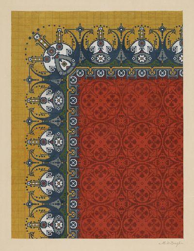 dekverf op papier; ontwerp voor handgeknoopt Deventer tapijt; brede rand van ronde motieven in grijs-blauw, wit, groen, grijs en bruin op geel fond; middenveld samengesteld uit cirkel-vormige motie...