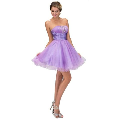 light lilac strapless tulle flared short dress 128