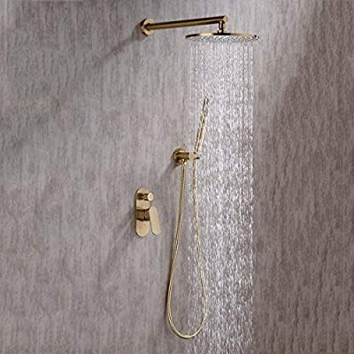 Trustmi Brushed Gold Brass Bathroom Round 10 Inch Diameter Brass Shower Tap Set Mix With Concealed Two Way Diverter Val Brass Bathroom Shower Taps Brushed Gold