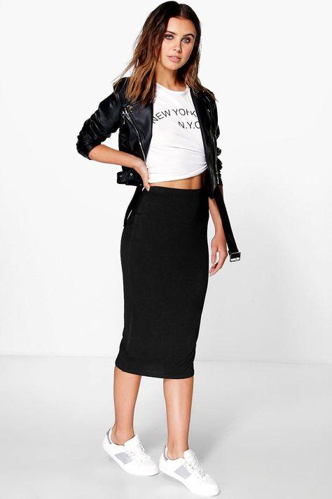 Basic Jersey Midi Skirt | boohoo