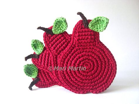 Wine Pears Crochet Coasters . Cherry Deep Red Leaves by MariMartin, $24.00