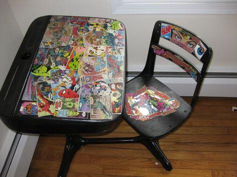 Vintage Comic Book Collage on Altered School Desk