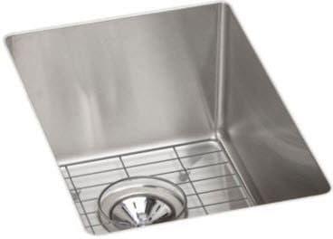 Elkay Ectru12179dbg 14 Inch Undermount Kitchen Sink With 9 Inch Bowl Depth 18 Gauge Stainless Steel Construction Polished Satin Finish Sound Guard Undercoati Undermount Bar Sink Elkay Stainless Steel Bar