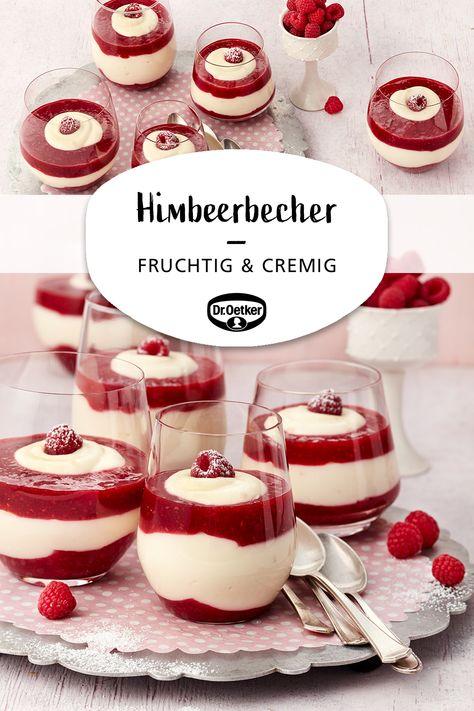 Mascarpone-Himbeerbecher: Ein fruchtiges Himbeerdessert mit leckerer Vanille-Mascarponecreme #nachtisch #buffet #dessert