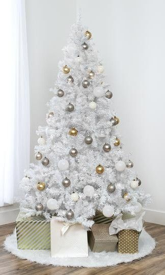 6ft Hinged Artificial Christmas Pine Tree W Metal Stand Full Christmas Tree White Christmas Tree Decorations White Christmas Tree