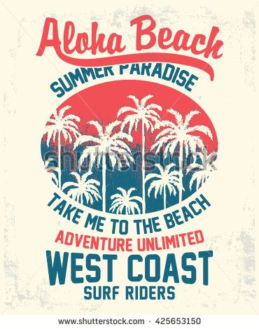 Aloha typography with palms tree illustration for t-shirt print , vector illustration.