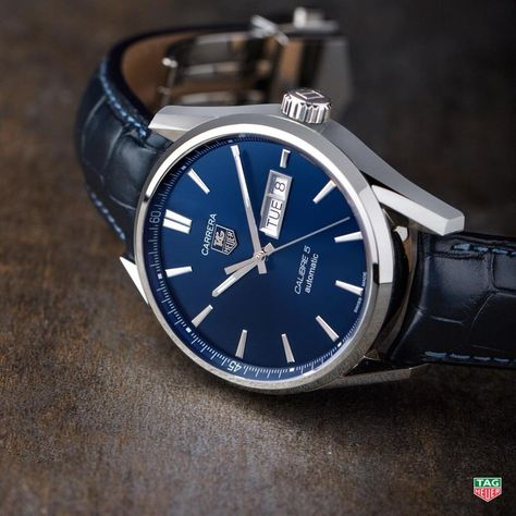 This handsome TAG Heuer CARRERA timepiece featuring a blue dial and blue alligator strap is the Father's Day gift to always remind dad how much he means to you.