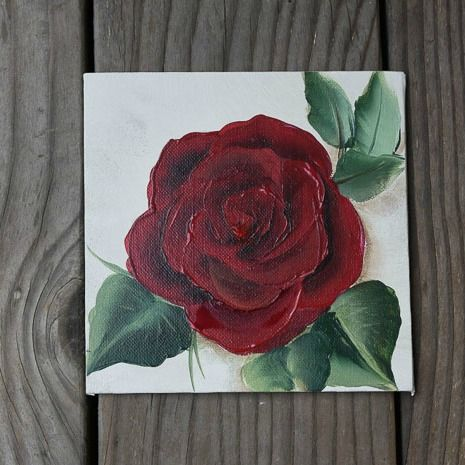 Easy Paint A Red Rose Rose Painting Acrylic Roses Drawing Rose