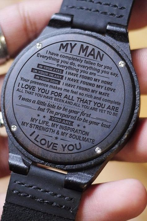 A GREAT GIFT FOR YOUR SON!  Get your husband something special! This is a beautiful watch made from real wood. The watch case and band are made from wood and the clasp is made from real leather.  The message is laser engraved on the back of the watch so it will last forever.  This watch will make the perfect gift for husbands and they will love it!  Get Yours Today And Make His Day!