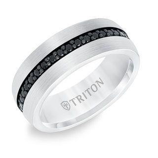 Triton Men S Black Sapphire Center Wedding Band In Tungsten Zales Mens Wedding Rings Tungsten Wedding Bands Mens Wedding Bands