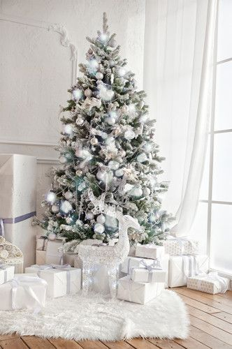 White Christmas Tree Fireplace Indoor Window Interior Backdrop 4664 Gold Christmas Tree White Christmas Trees Vintage Christmas Decorations