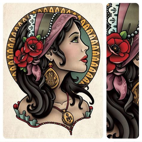 Sam Phillips Illustration — This is a gypsy tattoo I designed for Anna Garner. Tattoo Girls, Gypsy Girl Tattoos, Pin Up Girl Tattoo, Pin Up Tattoos, Head Tattoos, Girl Side Tattoos, Traditional Gypsy Tattoos, Traditional Sleeve, Tattoo Gitana