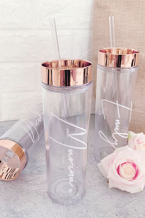 Rose Gold Tumblers personalized with your bridesmaids names are a cute gift for the maid of honor and your bridal party!