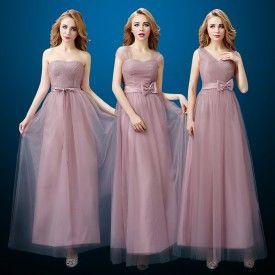Belle robe demoiselle d'honneur pas cher rose prune longue pour mariage en tulle 3 modèles à choisir