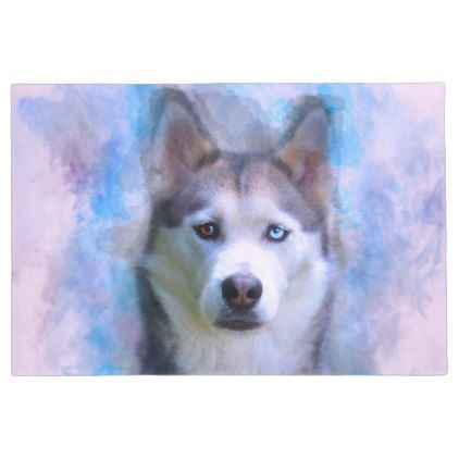 Siberian Husky Dog Water Color Art Painting Doormat Siberian
